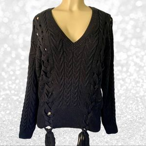 Alpha & Omega Black Lace Up Sides Chunky Sweater